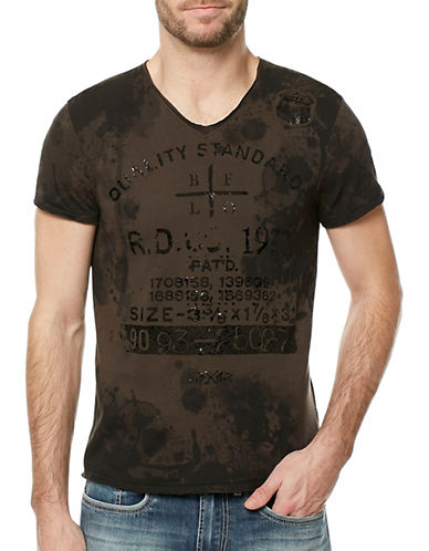 Buffalo David Bitton Graphic Cotton Tee-BROWN-Large