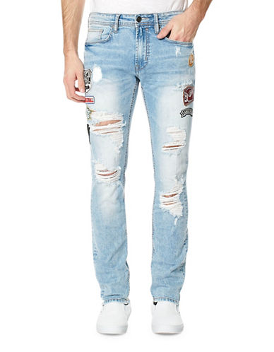 Buffalo David Bitton Ash-X Distressed Jeans-BLUE-36X32