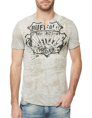 Buffalo David Bitton Split Neck Tee-BEIGE-X-Large