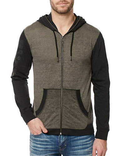 Buffalo David Bitton Colourblock Zip Hoodie-BLACK-X-Large