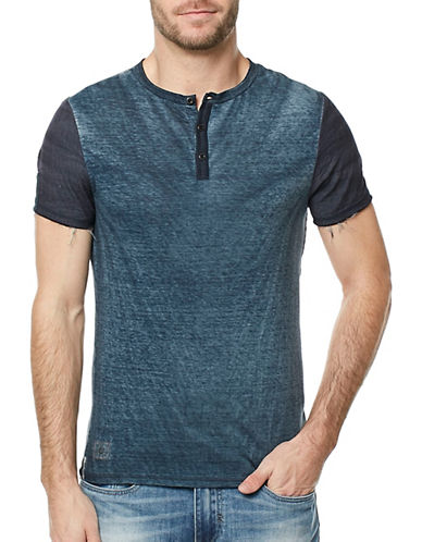 Buffalo David Bitton Graphic Back Cotton Henley-BLUE-Small