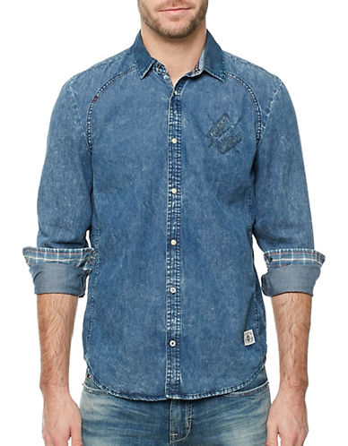 Buffalo David Bitton Contrast Collar Cotton Shirt-BLUE-Large