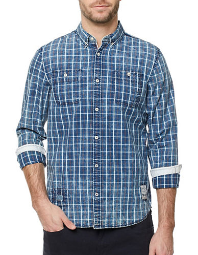 Buffalo David Bitton Plaid Cotton Shirt-BLUE-Small