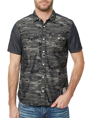 Buffalo David Bitton Camo Cotton Button-Down Shirt-CHARCOAL-X-Large