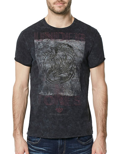 Buffalo David Bitton Tublack Acid-Wash Graphic Tee-BLACK-Large
