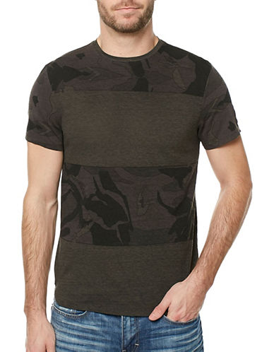 Buffalo David Bitton Block Stripe Cotton Tee-BROWN-Small