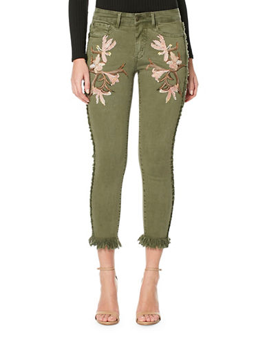 Buffalo David Bitton Hope Floral Embroidered Cropped Jeans-LIGHT OLIVE-32
