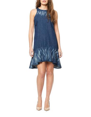 Buffalo David Bitton Dido Hilo Ruffle Dress-BLUE-Small