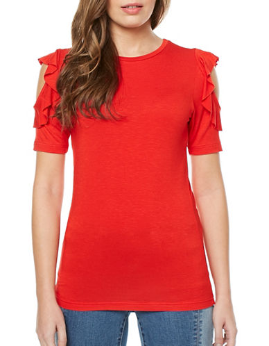 Buffalo David Bitton Zola Slub Knit Ruffled Sleeve Top-POPPY RED-Medium