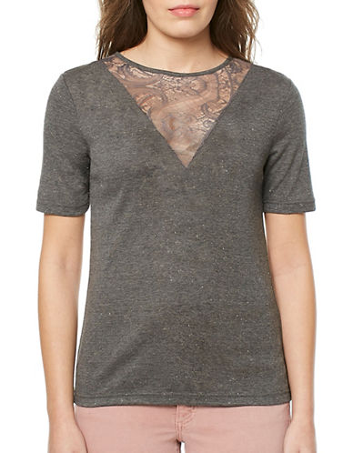 Buffalo David Bitton Piper Glitter Knit Tee-CHARCOAL-X-Small