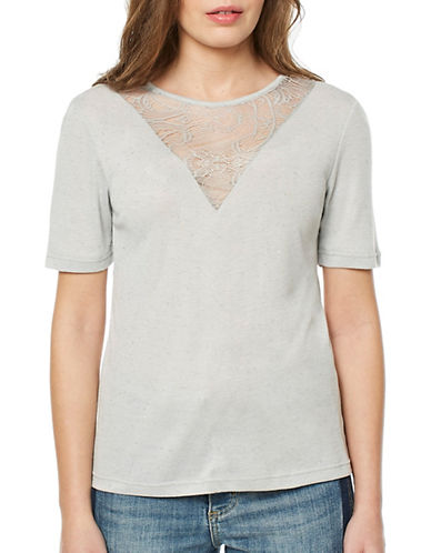Buffalo David Bitton Piper Glitter Top-LIGHT GREY-X-Small