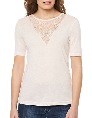 Buffalo David Bitton Piper Glitter Top-PEACH-Large