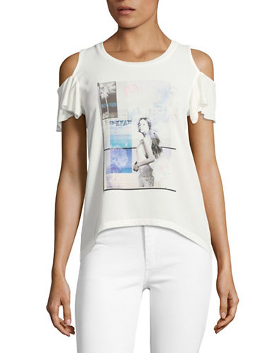 Buffalo David Bitton Yes No Maybe Cold-Shoulder Tee-WHITE-Small