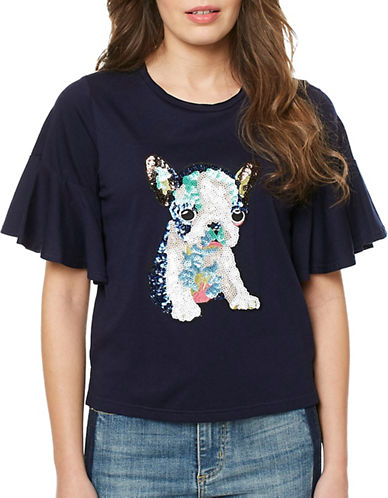 Buffalo David Bitton Bulldog Sequin Applique Tee-NAVY-Medium