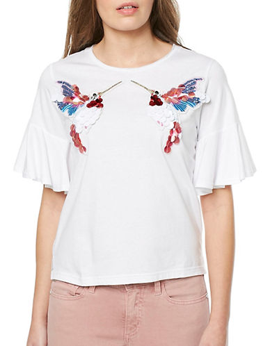 Buffalo David Bitton Hummingbird Sequin Applique Tee-WHITE-Small