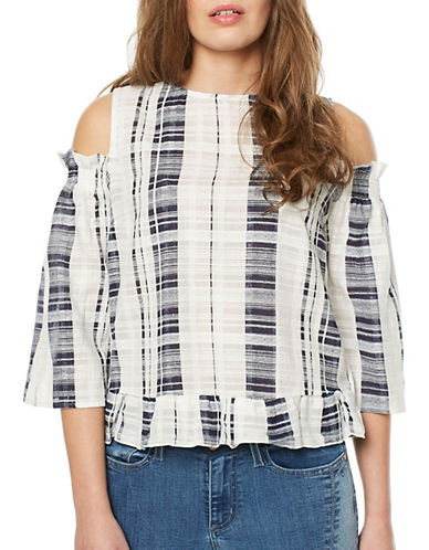Buffalo David Bitton Myra Dobby Plaid Cold-Shoulder Top-NAVY-Medium