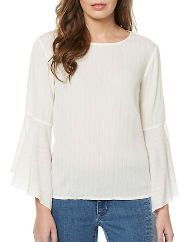 Buffalo David Bitton Melbyrn Metallic Crinkle Woven Top-WHITE-Small