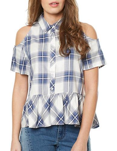 Buffalo David Bitton Satyana Cold-Shoulder Plaid Shirt-TURQUOISE-Small