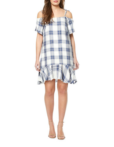 Buffalo David Bitton Plaid Ruffle Dress-TURQUOISE MULTI-Small