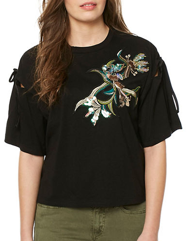Buffalo David Bitton Glitzy Knit Tee-BLACK-Medium