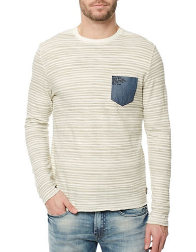 Buffalo David Bitton Striped Cotton Pocket Top-GREY-Small