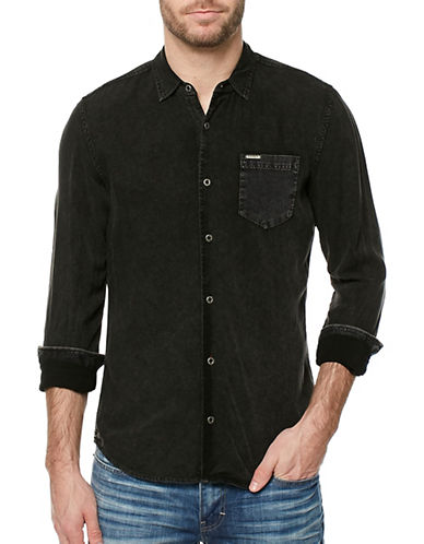 Buffalo David Bitton Beached Patch Pocket Shirt-GREY-Large
