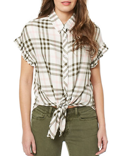 Buffalo David Bitton Daleena Woven Shirt-WHITE/OLIVE-Large