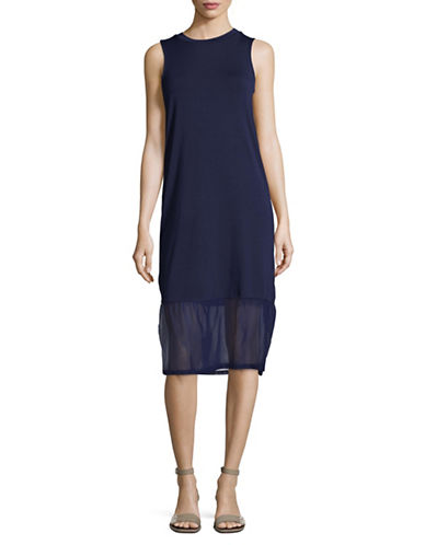 Buffalo David Bitton Midi Tank Dress with Mesh Hem-NAVY-Small