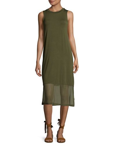 Buffalo David Bitton Midi Tank Dress with Mesh Hem-OLIVE NIGHT-X-Small