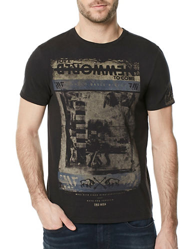 Buffalo David Bitton Tadial Crew Neck Cotton Tee-BLACK-X-Large