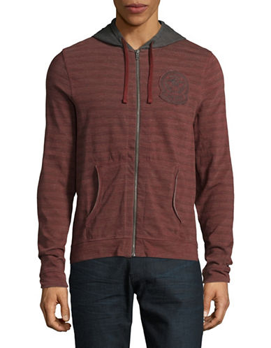 Buffalo David Bitton Logo Patch Stripe Zip Hoodie-PURPLE-Medium