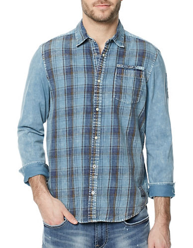 Buffalo David Bitton Sawitan Cotton Casual Button-Down Shirt-BLUE-Small