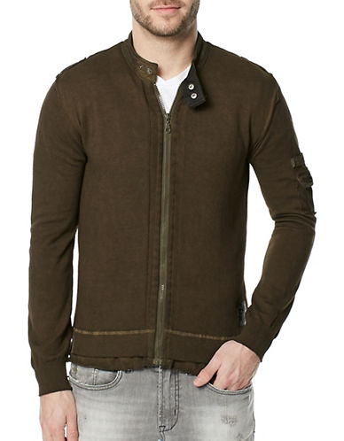 Buffalo David Bitton Wazip Full Zip Cotton Sweater-BROWN-Medium