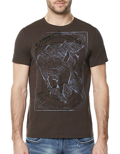 Buffalo David Bitton Layered Print Cotton T-Shirt-GREY-Medium
