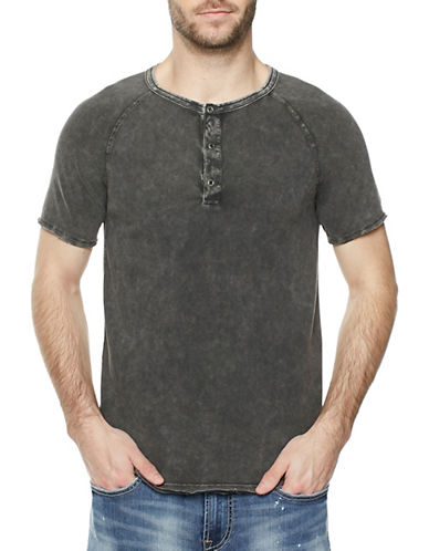 Buffalo David Bitton Pique Cotton Henley-BROWN-Small