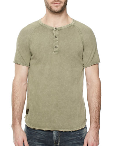 Buffalo David Bitton Pique Cotton Henley-GREEN-Large