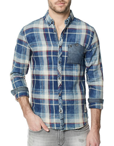 Buffalo David Bitton Woven Plaid Cotton Button-Down Shirt-BLUE-Large