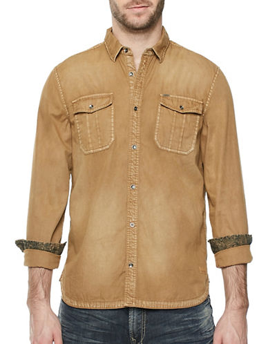 Buffalo David Bitton Woven Cotton Button-Down Shirt-BROWN-Medium