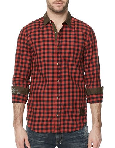 Buffalo David Bitton Woven Plaid Cotton Button-Down Shirt-RED-Large