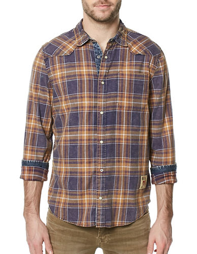 Buffalo David Bitton Woven Plaid Sport Shirt-BLUE-Medium