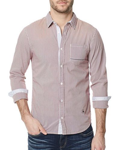 Buffalo David Bitton Savans Seersucker Shirt-RED-X-Large