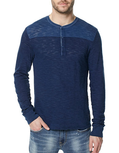 Buffalo David Bitton Knitted Cotton Henley-BLUE-Large
