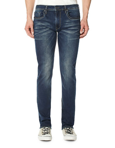 Buffalo David Bitton Slim Whiskered Vintage Wash Jeans-BLUE-29X32