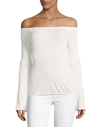 Buffalo David Bitton Off-Shoulder Knit Top-WHITE-Medium