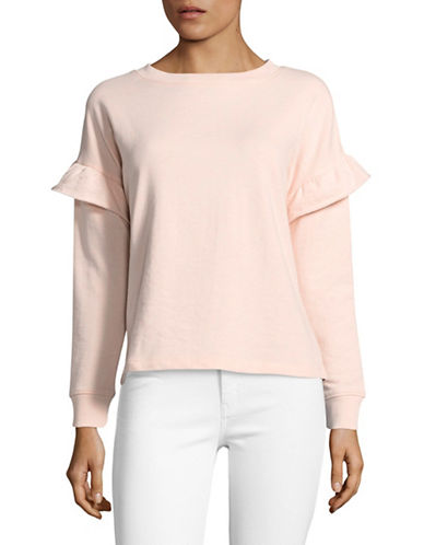 Buffalo David Bitton Ruffle Long Sleeve Top-PINK-Large