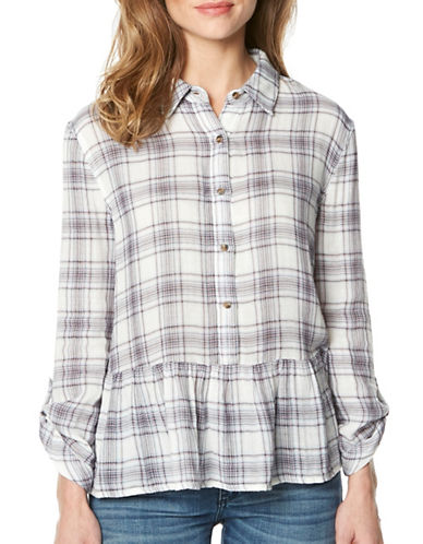 Buffalo David Bitton Peplum Plaid Long Sleeve Shirt-WHITE PLAID-Large