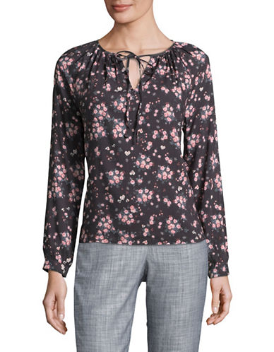 Buffalo David Bitton Long Sleeve Floral Print Top-BLACK FLORAL-X-Small