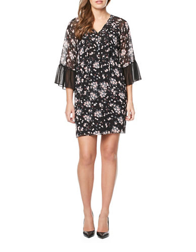 Buffalo David Bitton Floral Print Dress-BLACK FLORAL-Medium