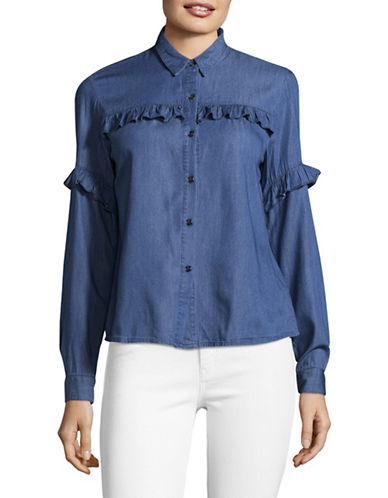 Buffalo David Bitton Chambray Ruffle-Trim Blouse-FEMME-Large
