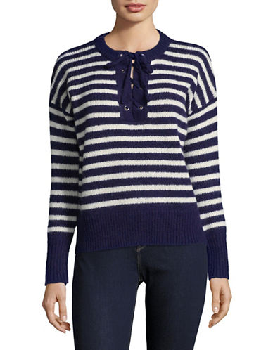 Buffalo David Bitton Lace-Up Sweater-BLUE STRIPE-Large